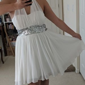 DEB white halter dress with sequins, rare!